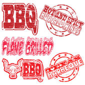 BBQ Rubber Stamps — Stock Vector