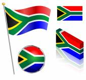 South African Flag Set — Stockvektor