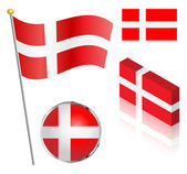 Danish Flag Set — Stock Vector