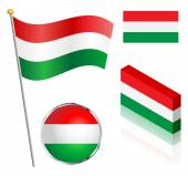 Hungarian Flag Set — Stock Vector