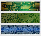 Circuit Board Web Banners — Stock Vector