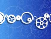 Gears And Blueprint — Stock Vector