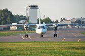 Propeller passenger plane — Stock Photo