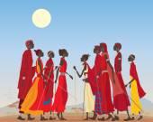 Masai men and women — Stock Vector