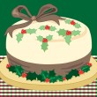Christmas holly cake — Stock Vector #58358427