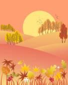 Autumn evening — Stock Vector