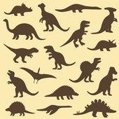 Vector set silhouettes of dinosaur — Stock Vector