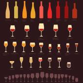 Wine glasses and bottle types — Stock Vector