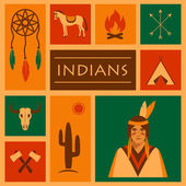 American native indian, — Vetorial Stock