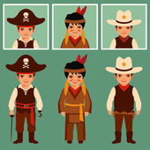 Pirate, cowboy, indian — Stock Vector