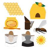 Beekeeping set vector — Stock Vector