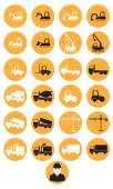 Construction machinery icons — Stock Vector