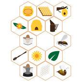 Beekeeping icons set — Stock Vector