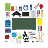 Vector school supplies — Stock Vector