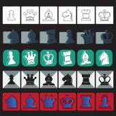 Vector classic chess icons set — Stock vektor