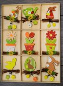 Easter eggs and decoration on wooden background — Stock Photo