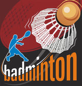 Badminton poster vector — Stock Vector