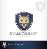 Mountain lion cougar puma vector symbol logo — Stock Vector