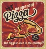 Retro pizza sign, background, template pizza box design. Retro pizzeria poster on old paper texture. Layered. — Stock Vector