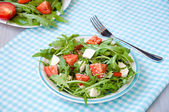 Greece salad with mozzarella, ruccola and tomatoes — Stock Photo