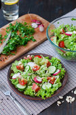 Tomato and cucumber salad with lettuce leafes — Stock Photo