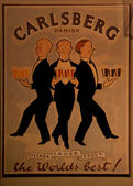 Old Carlsberg poster promoting beer. — Stock Photo