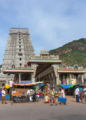 Market, glorious covered marquee, eastern Gopuram and the holy m — Stock Photo
