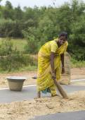 Young woman sweeps millet on public road. — Stock Photo