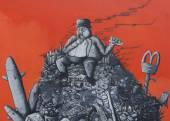 Graffiti: fat capitalist sitting on a heap of corporate junk. — Stock Photo