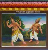 Lord Shiva cuts off Indira's head with a chakra. — Stock Photo