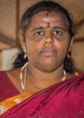 Bearded Indian woman in Thanjavur. — Stock Photo