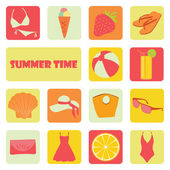 Set of flat summer individual icons on a theme of rest — Stock Vector