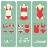 Banners collection of swimsuits and bikinis flat illustration — Stock Vector