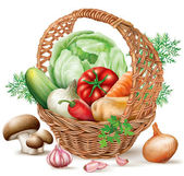 Basket different Vegetables — Vector de stock
