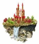 Flying island with fabulous castle — Stock Photo