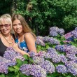 Two women of different generations standing near flowers hydrangeas. Mother and daughter. Grandmother and granddaughter. — Stock Photo #64677533