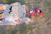 Clothing lying on the sand — Stockfoto