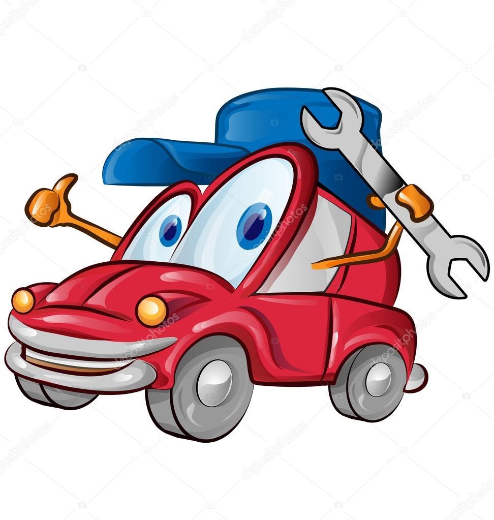 Auto garage symbool cartoon op witte achtergrond for Garage auto 2000 wimille