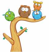 Funny owl group cartoon on tree  — Stock Vector