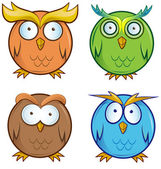 Owl cartoon set  — Stock Vector