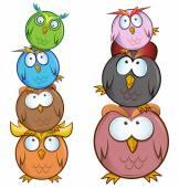 Funny Owl cartoon group — Stock Vector