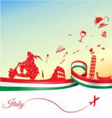 Italian holidays background with flag — Stock Vector