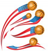 Basket ball set  with USA flag — Stock Vector