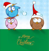Funny owl cartoon ON CHRISTMAS  BACKGROUND — Stock Vector