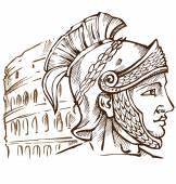 Roman warrior on colosseum background — Stock Vector