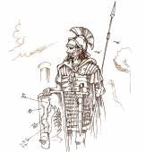 Roman warrior hand draw — Stock Vector