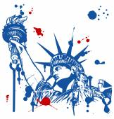 Statue of liberty with torch with ink dripping — Stock Vector