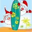 Santa claus cartoon with surfboard on summer background — Stock Vector #59158359