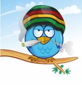 Jamaican owl cartoon on sky  background — Stock Vector