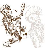 Punk rock guitarist hand draw — Stock Vector